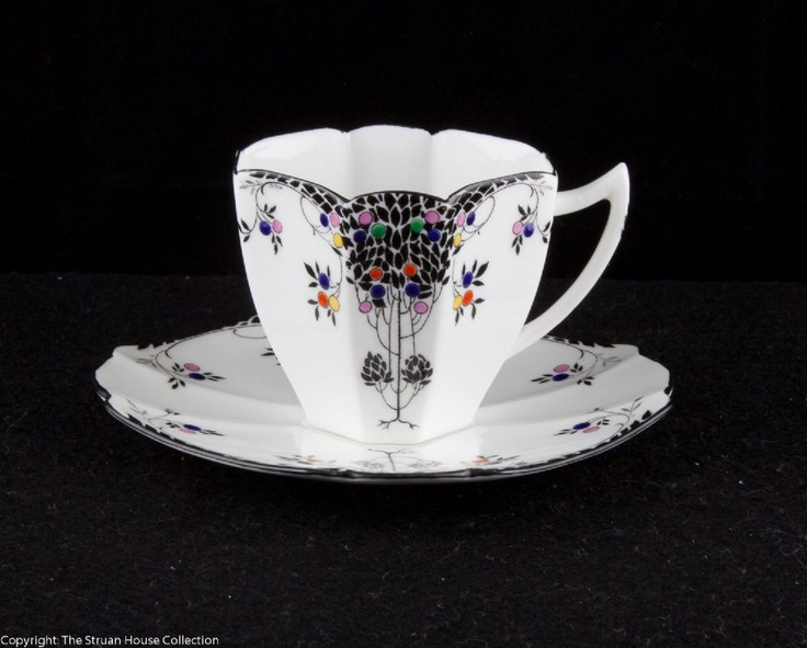 A really stunning coffee cup saucer in the ever-popular Black Leafy Tree pattern which is rarely found in the demitasse size