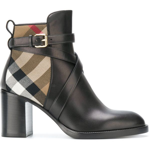 Burberry House Check ankle boots (42.955 RUB) ❤ liked on Polyvore featuring shoes, boots, ankle booties, brown, leather boots, leather booties, brown ankle boots, brown ankle booties and block heel booties