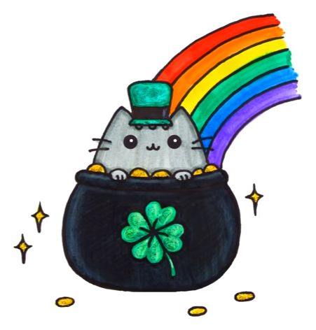 Happy Saint Patrick's Day Pusheen Cat