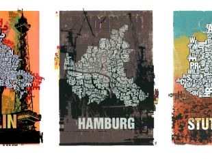 Buchstabenorte  Jeder Stadtteil in seinen Grenzen, Stadtpläne nur aus Buchstaben.