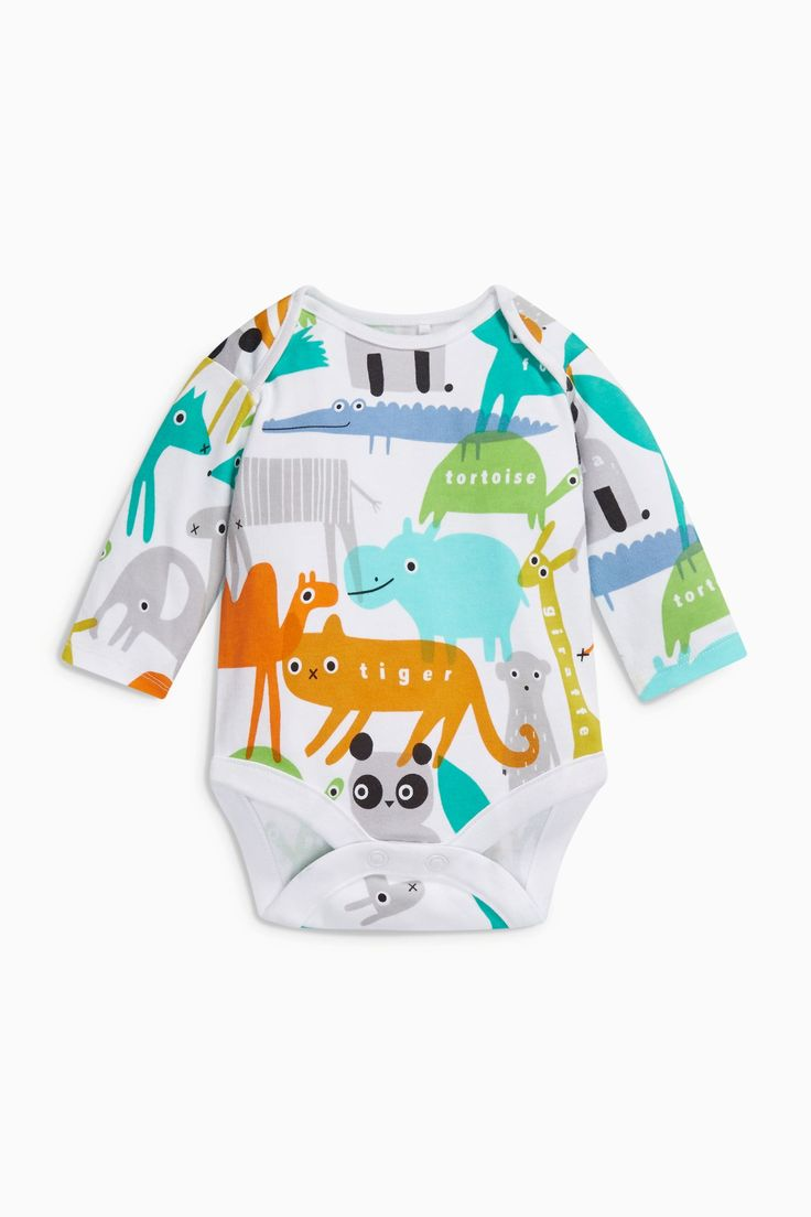 Buy Bright Animal Long Sleeve Bodysuits Three Pack (0mths-2yrs) from the Next UK online shop