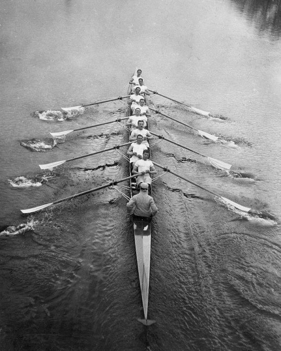 "Cambridge Mens Rowing Team in Action ca 1910 Photo 8""x10"" B&W Art Sports Athletes England UK GB"