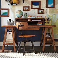 """Emerson Sawhorse Desk + Hutch  A wonderful """"homework nook"""" for any youngster or adult."""