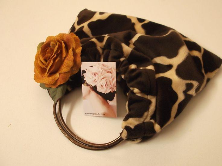 borsa pelliccia giraffa rosa ocra di sogni d'arte by adalgisa su DaWanda.com