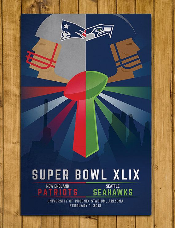 Super Bowl XLIX - New England Patriots v Seattle Seahawks Poster by headfuzzbygrimboid