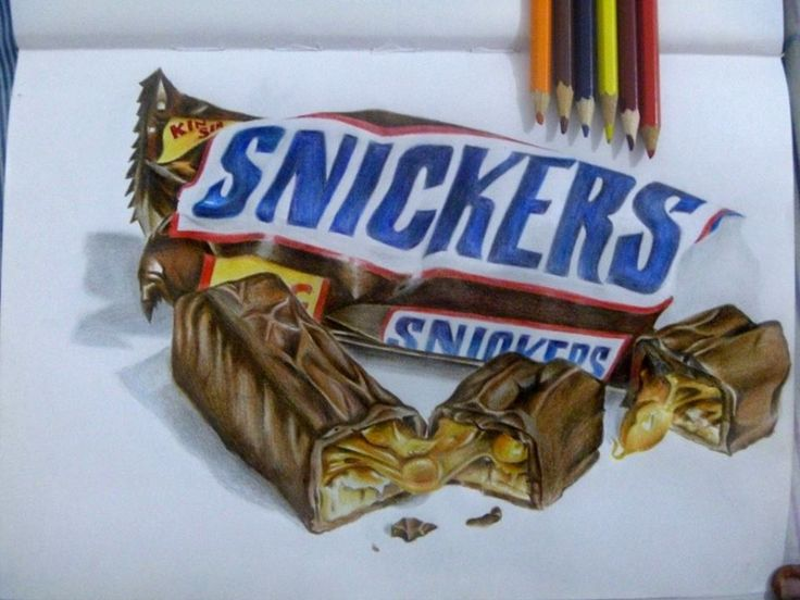 Snickers Realistic Drawing In 2019 Candy Drawing