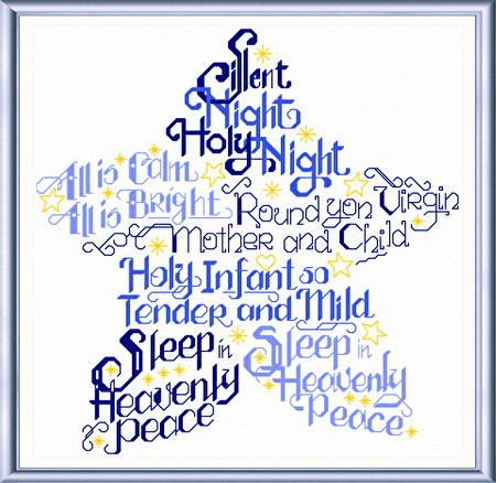 Lets Have a Silent Night - Christmas cross stitch pattern designed by Ursula Michael. Category: Words.