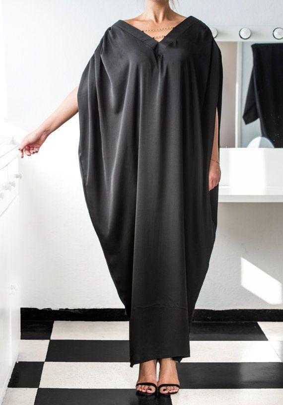 NEW SS 2016 BLACK Maxi Dress Caftan Abaya by cherryblossomsdress