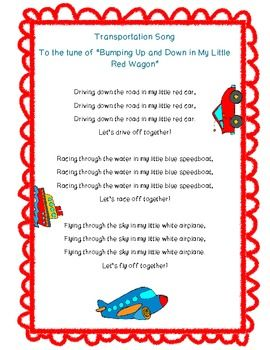 Sing this cute song with your kiddos to help them remember different kinds of land, water and air transportation! :) I hope your class enjoys this song. Feedback is always much appreciated! ~Jessica Fun in PreK-1