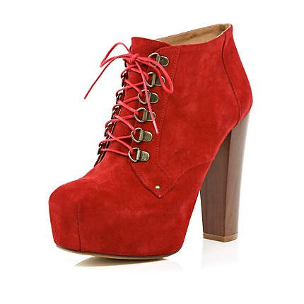 red platform ankle boots - ankle boots - shoes / boots - women - River Island
