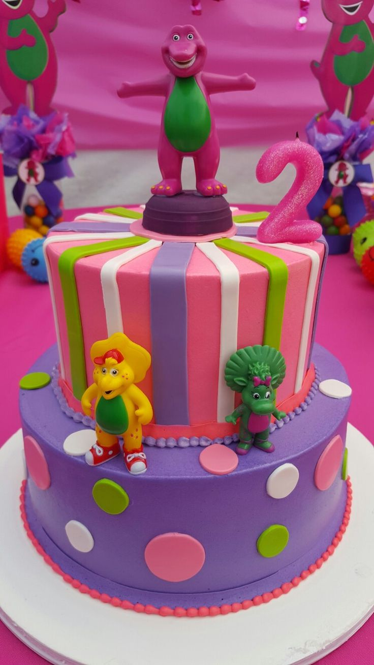 Barney theme birthday cake for Audrey's birthday party
