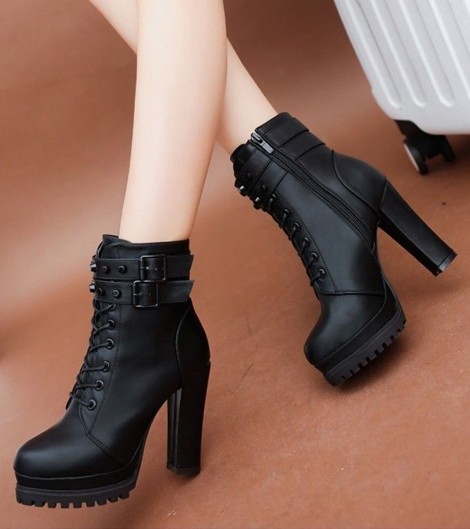 High Heels Zipper Ankle Boots | Black