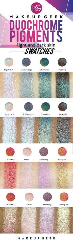 Makeup Geek Duochrome Pigment swatches on light and dark skin. #doyouduo