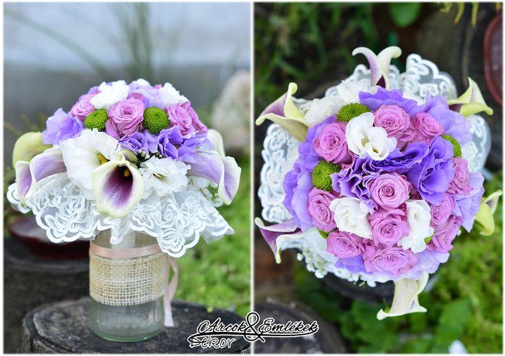 Menyasszonyi csokor - levendula szín