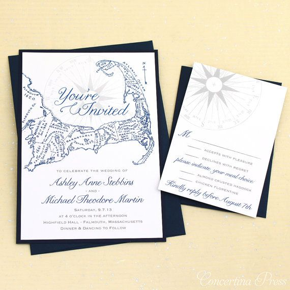Cape Cod Wedding Invitations - Sample - With Antique Map