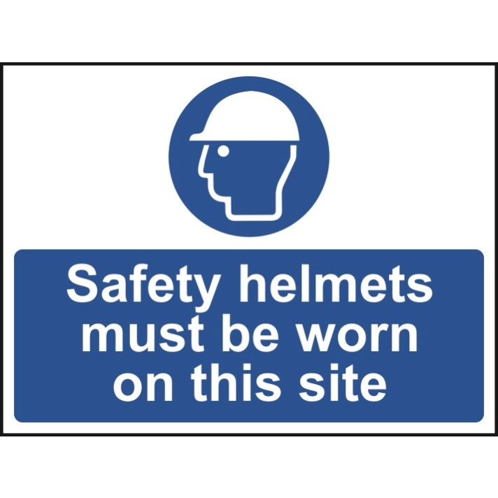 Safety helmets must be worn - Self Adhesive Sign 600 x