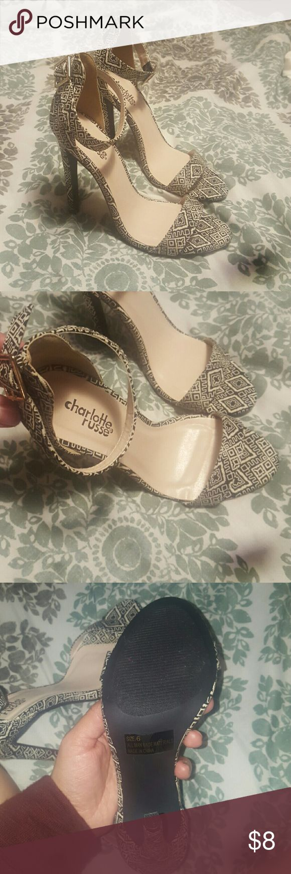 Shoes Black and white print strappy heels. Never worn only tried on a couple  times. Charlotte Russe Shoes Heels