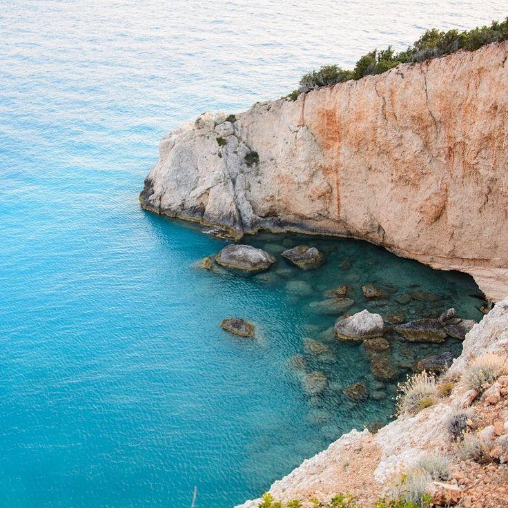 It's about the view... Photo by @kyriakosalv #sea #perfectblue #nofilter #lefkada #portokatsiki #greece #sealovers #instagood #summer #rockybeach #readytodivein