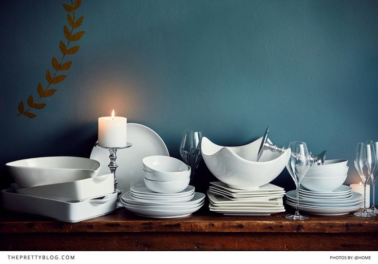 Hosting this festive season? You don't have to stick to traditional green and red - try a deep metallic blue with classic white crockery on your table! | Perfect Christmas Hosting: Day & Night | Items available from @home's Christmas Hosting Catalogue