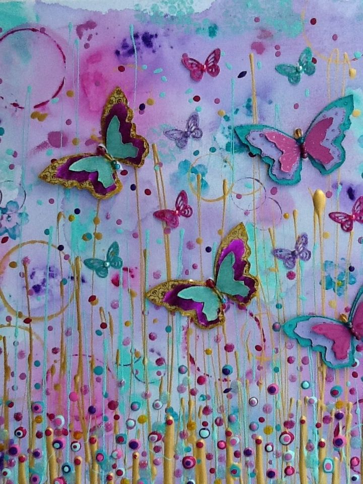 "Made-By-Me....Julie Ryder: ""Golden flutter""....Butterfly painting!"