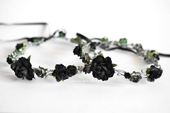 Gothic wedding flower crown Silver black floral crown Bridal