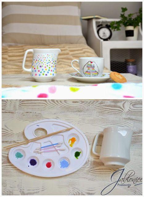 Porcelana w kropki malowana, diy, toturial, porcelain, ceramics, painting, dots