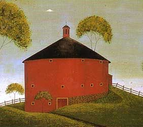 18th Century painting of a Red Round barn