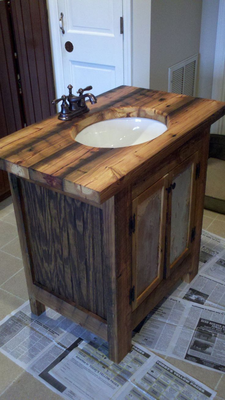 Rustic Bathroom Vanity barn wood pine undermount sink. via Etsy.