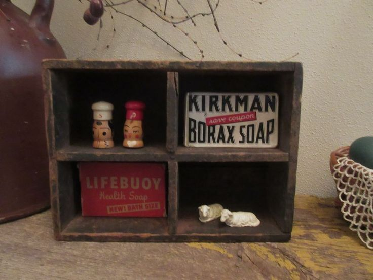 VINTAGE Kirkman Borax Soap Lifebuoy Soap Sheep Wood Salt and Pepper and Box #KirkmanLifebuoy