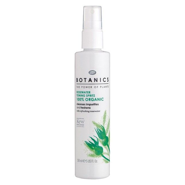 Boots Botanics Organic Rosewater Toning Spritz: This toner is a great way to prep your skin for a moisturizer, as it removes impurities and freshens you up without drying out your skin.
