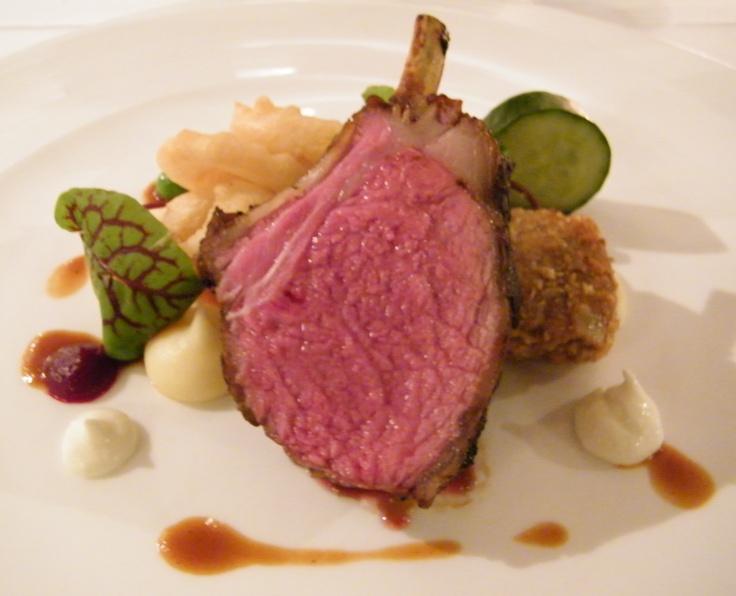 Rack of Junee lamb, braised lamb shoulder schnitzel, onion rings, cucumber & yoghurt