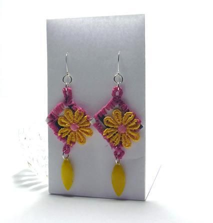 FlowerPowerMod™  I created these earrings with inspiration from the mod flower power era. I used a pretty black and white striped fabric and sewed around it with pretty pink embroidery thread and added a pretty flower embellishment. I matched the flower with a yellow drop to make these mod statement earrings really pop. Earwires are handmade silver plated wire. These earrings measure 4 inches.  $33.00