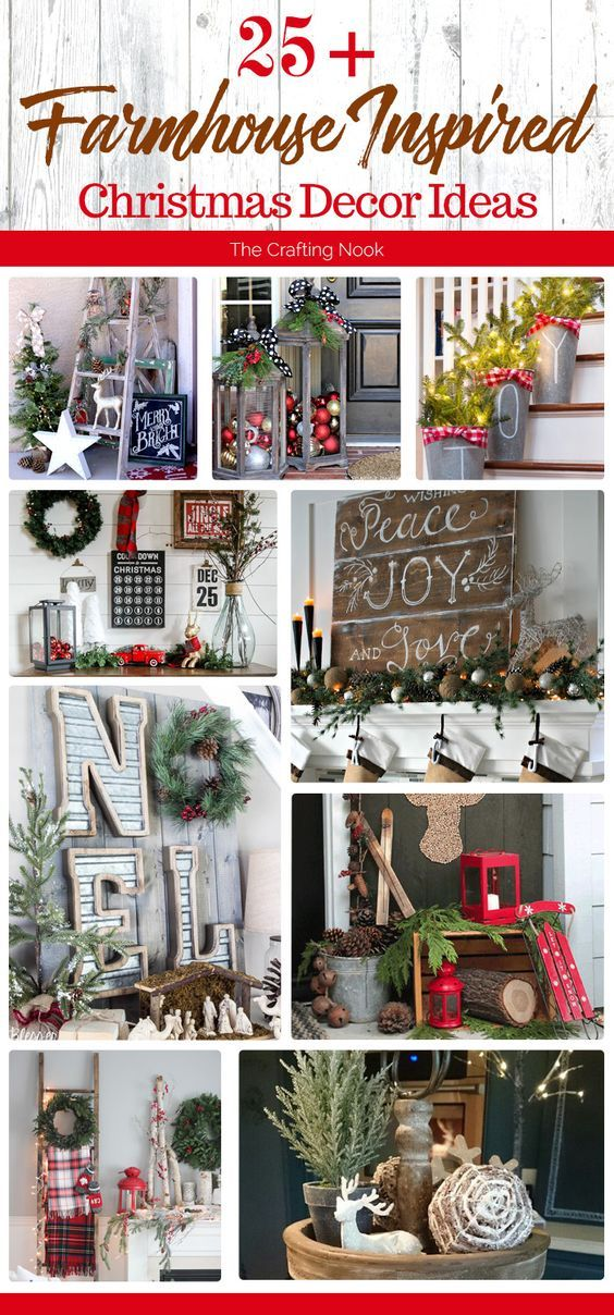 These 25+ Farmhouse Inspired Christmas Decor Ideas will make you dream about starting decorating your home right now for Christmas! I'm so so eager to start! Hope you get as inspired as I am!
