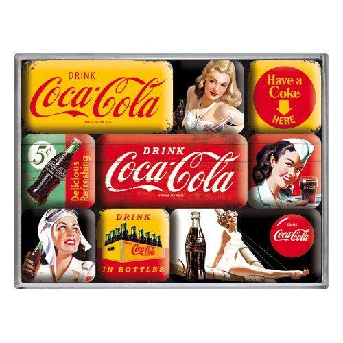 Boite de 9 mini-magnets Coca-Cola: Petite boite plastique transparente contenant 9 minis magnets émaillés Cet article Boite de 9…