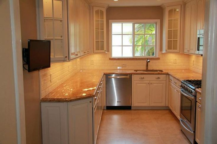 Small u shape kitchen designs with lighting ideas u for Tiny u shaped kitchen designs