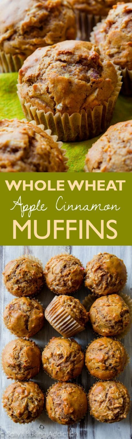 Hearty, healthy, and satisfying whole wheat muffins filled with sweet apples and plenty of cinnamon spice! Recipe on sallysbakingaddiction.com