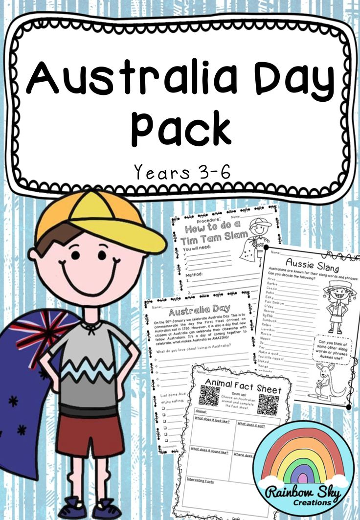 Australia Day Pack Suitable for Years 3 - 6 . ncluded in the pack are a variety of language based lesson ideas. Use the activities together to create a series of sequenced lessons or individually to create group tasks or class lessons. ~ Rainbow Sky Creations ~