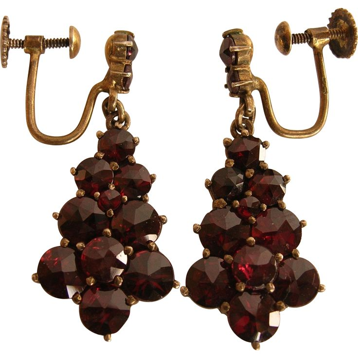 Bohemian Rose Cut Garnet Sterling Vermeil Earrings