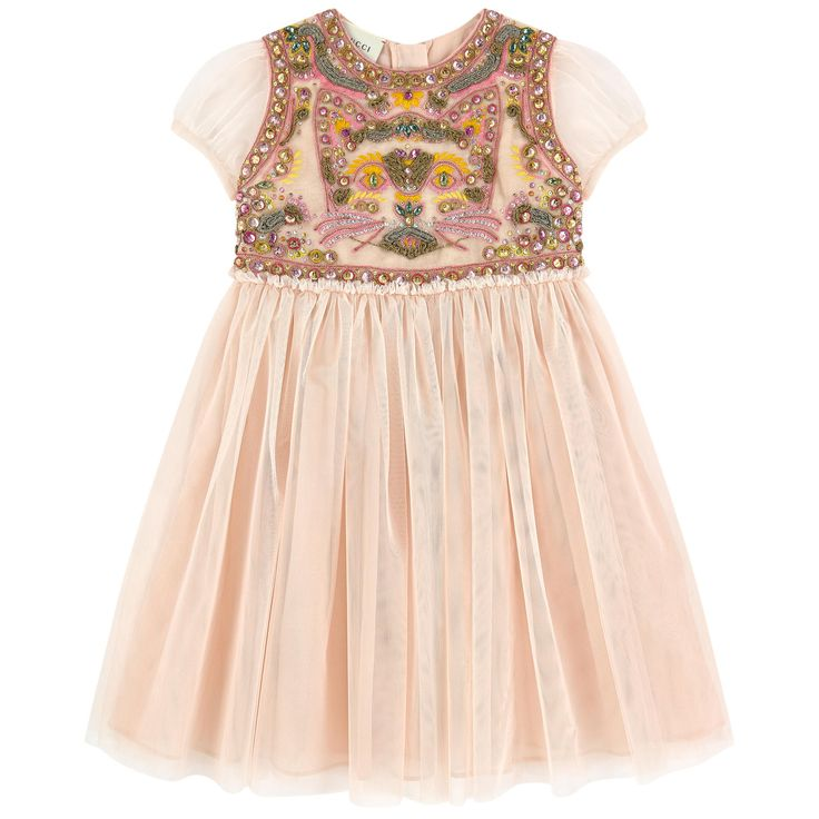 Synthetic tulle Fine cotton lining Exquisite dress Light and flowing Stylish outfit for great occasions Crew neck See-through sleeves Gathered tulle patch on the waistband Two layers for a puff effect Loose fit Zipper in the back Fancy sequins Fancy cabochons Embroideries - $ 1,980