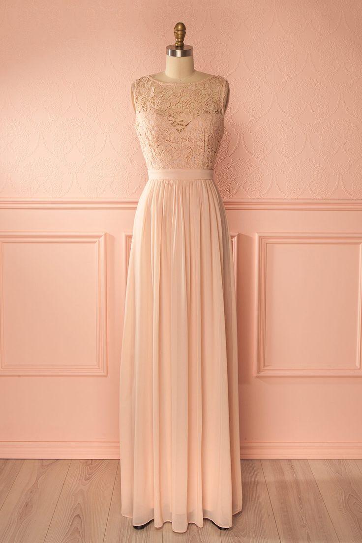 Robe style empire à buste de dentelle rose - Blush pink lace bust empire gown
