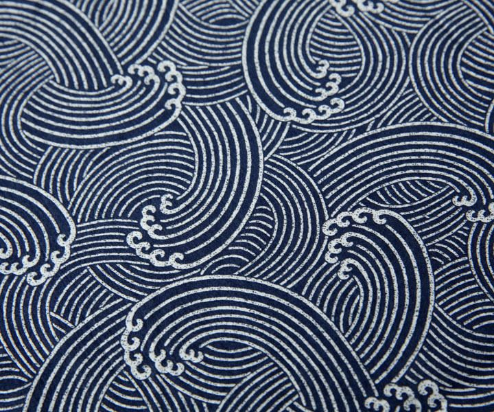 Tissu japonais traditionnel motif vague gris écru 153x50cm