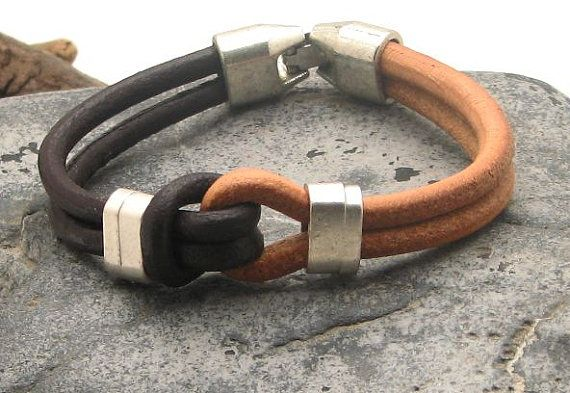 FREE SHIPPING Men's leather bracelet Brown and natural leather cord, marine knot bracelet with silver plated spacers and clasp