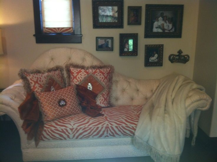 Chris Mioshi Johnson Master Bedroom Tangerine Cream Sofa As Seen On Donna Decorates Dallas By Moss Designs Pillows