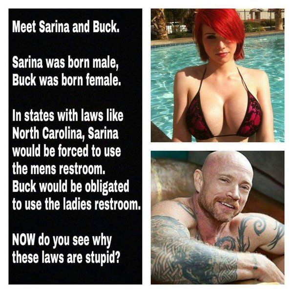 Meet Sarina and Buck. Sarina was born male, Buck was born female. In states with laws like North Carolina, Sarina would be forced to use the mens' restroom. Buck would be obligated to use the ladies' restroom. NOW, do you see why these laws are stupid? #BoycottNC
