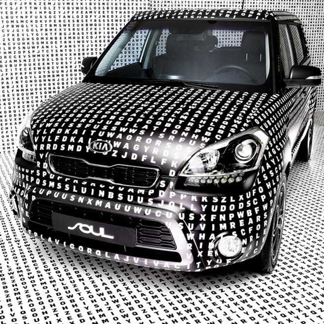 Giant word search printed onto a car