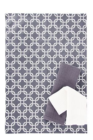 """This trendy geometric print completes the urban look for your kitchen. This pack includes 3 100% cotton tea towels durable for every day use.<div class=""""pdpDescContent""""><BR /><b class=""""pdpDesc"""">Dimensions:</b><BR />L65xW45 cm<BR /><BR /><b class=""""pdpDesc"""">Fabric Content:</b><BR />100% Cotton<BR /><BR /><b class=""""pdpDesc"""">Wash Care:</b><BR>Gentle cycle cold wash</div>"""
