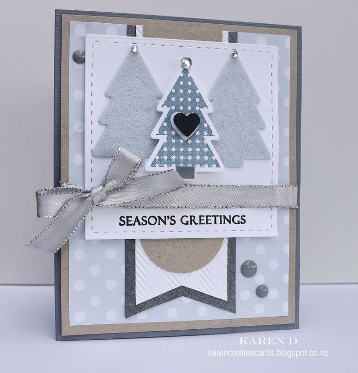 Karen Creates Cards: Merry Monday Christmas Card Challenge #104 - Use the the colours Slate, Kraft and White or Cream on your Christmas card...