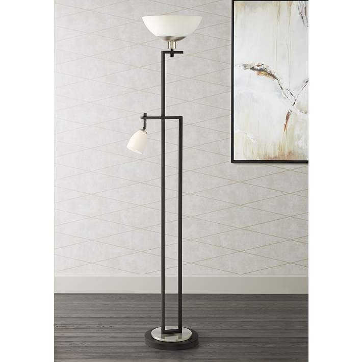 Halifax Led Torchiere Floor Lamp With Reading Side Light 33c84 Lamps Plus Floor Lamp Torchiere Floor Lamp Lamp