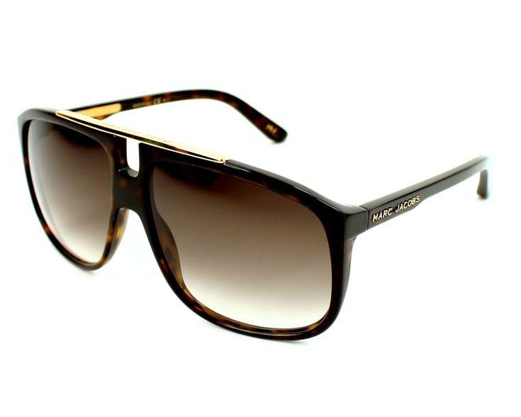 Lunettes de soleil Hommes Marc Jacobs référence MJ252/S 086JS - 60. Monture en Acétate couleur Havane avec des verres Graduel marron, catégorie UV Protection : 100% des UV absorbés, indice 2.