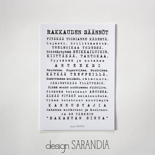 Rakkauden säännöt printti A5  Design Sarandia  https://www.facebook.com/designsarandia